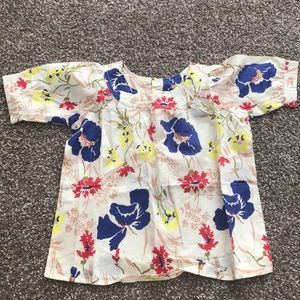 Burberry little girl floral blouse top 4t